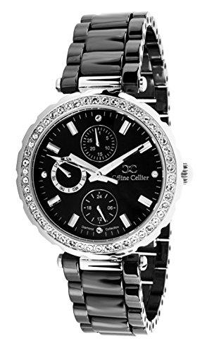 Céline Cellier Damen-Armbanduhr Analog Quarz Edelstahl Keramik Diamanten - 12008WB