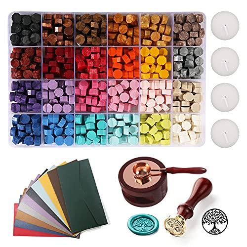 Kit de sello de cera con 600 piezas de 24 colores de cuentas de sello de cera, sello de cera para decorar sobres, cartas, invitaciones de boda, tarjetas, caja de regalo