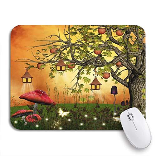 Gaming Mouse Pad Waldbaum Äpfel und Laternen in Enchanted Glade Fantasy rutschfeste Gummi Backing Computer Mousepad für Notebooks Mausmatten