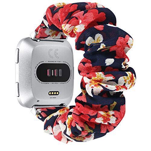 fastgo Scrunchie Bands Compatible with Fitbit Versa/Versa 2/Versa Lite & Special Edition for Women Girls, Breathable Fabric Strap Replacement Scrunchies Wristband Bracelet Accessories (Red Flower)