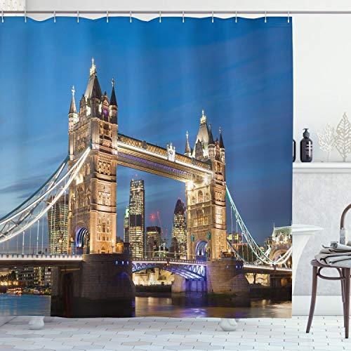 "Ambesonne London Shower Curtain, Scenery of Landmark Tower Bridge at Twilight with Skyscrapers England UK Image, Cloth Fabric Bathroom Decor Set with Hooks, 70"" Long, Ivory Blue"