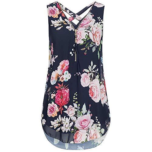 Riou - Blusas y Camisa de Gasa Barata para Mujer Primavera Elegante Estampado Cuello en V Cremallera Estampado Sexy Moda Tallas Grandes Blusa Barata Top Camisetas