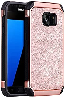 BENTOBEN Galaxy S7 Case, 2 in 1 Luxury Glitter Bling Hybrid Slim Hard Cover Laminated with Sparkly Shiny Faux Leather Chrome Shockproof Protective Case for Samsung Galaxy S7 (G930), Rose Gold