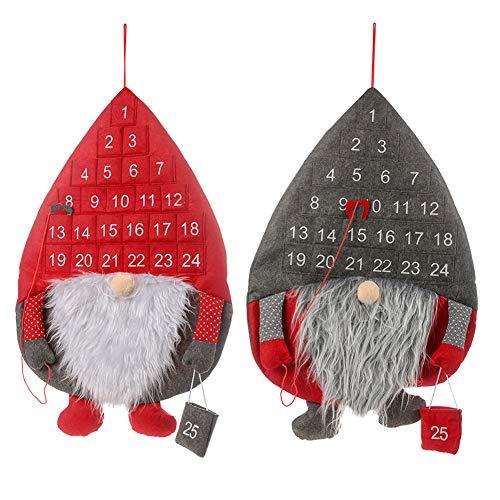 YUANZHU Calendario De Cuenta Regresiva De Navidad Calendario De Cuenta Regresiva para El Advenimiento De La Puerta De Pared para Decoraciones Navideñas para Niños De Oficina En Casa,Rojo