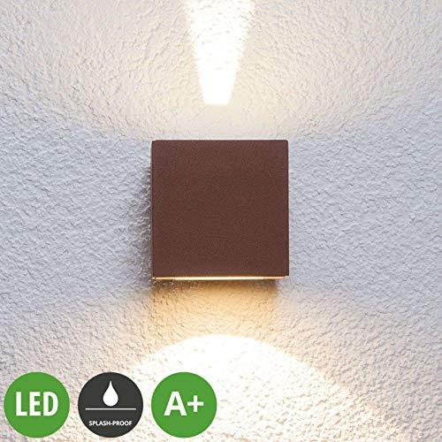 Lámpara LED de pared exterior Jarno (resistente a salpicaduras), de aluminio (2 focos, A+, incluye bombilla), color marrón