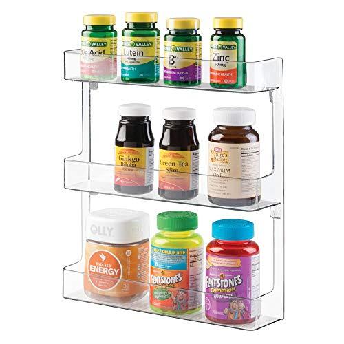 mDesign Estantería de pared para organizar medicamentos – Repisa con 3 estantes en plástico estable – Baldas para baño para guardar medicinas, vitaminas y suplementos deportivos – transparente