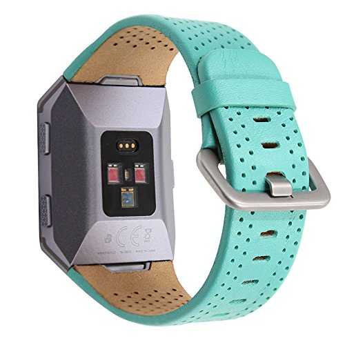 Pinhen Fitbit Ionic - Correa de piel auténtica para reloj inteligente Fitbit Ionic (S, verde)