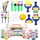 Early Learning Kids Paint Set Washable Finger Paint with Assorted Painting Brushes Sponges Portable Case for Kids Toddlers Drawing Gifts Age 3+