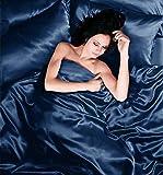 Seitenschläferkissen - Bettwäscheset, Bettbezug, Spannbetttuchund 2Kissenbezüge, Satin, für Einzelbetten, Marineblau