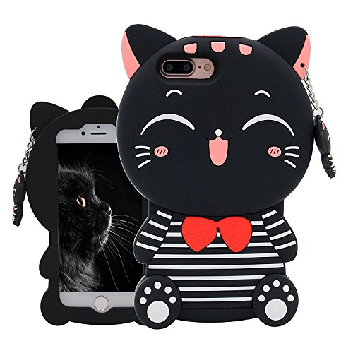 Joyleop Black Cat Case Compatible with iPhone 5 5C 5S SE,Cute 3D Cartoon Animal Cover,Kids Girls Fun Soft Silicone Rubber Kawaii Character Unique Cases,Fashion Shockproof Skin Protector for iPhone5