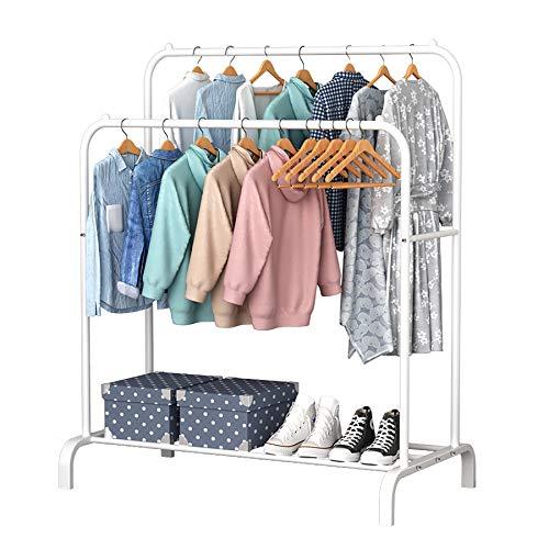 YAYI Wäscheständer Metall Kleiderständer Freistehender Kleiderbügel Doppelpoliger Schlafzimmer-Kleiderständer mit unterem Ablagefach für Boxen Schuhe,Weiß