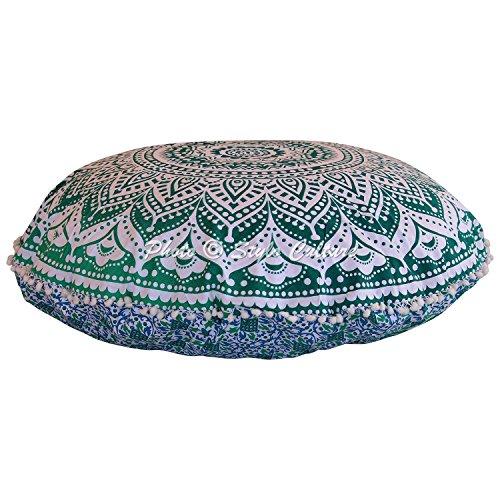 Stylo Culture - Cuscino rotondo indiano indiano per cuscino da pavimento, 80 x 80 cm, motivo mandala, con pompon in pizzo, misura XL, in cotone, per sedia