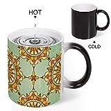 Taza sensible al calor con diseño de mandala naranja que cambia de color, divertido té, cerveza, café latte, capuchino, taza mágica personalizada para marido, papá, abuelo, 325 ml