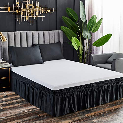 YANBING Wrap Around Bed Skirts, 16 Inch Drop Dust Ruffles, with Adjustable Elastic Belt and Easy to Put On/Off, Black, Full