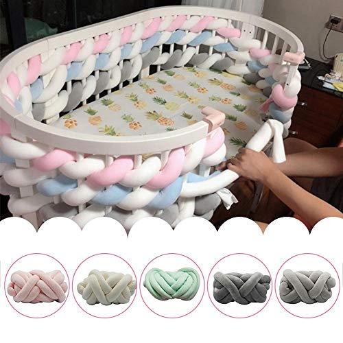 Jinclonder Baby kribbe bumper verknoopt gevlochten pluche kinderkamer wieg decor pasgeborenen geschenk kussen kussen flexibel junior bed slaap bumper voor baby slaap veiligheid