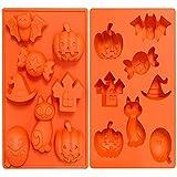 Crethink 1 confezione di mini stampi in silicone per Halloween, zucca, teschio, pipistrello, gatto, castello, caramelle, cappello da strega, cioccolato caramelle per kithen cottura