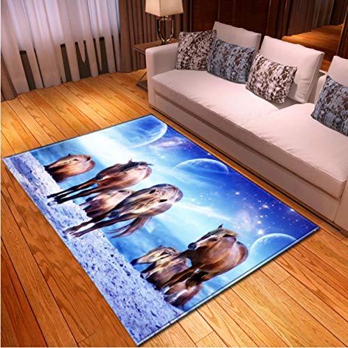 Horse Under The Stars 3D Printed Carpet Living Room Bedroom Non-Slip Carpet Coffee Table Sofa Area Exquisite Polyester Carpet80*160Cm