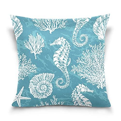 Fundas de almohada cuadradas de caballito de mar y coral, 45,7 x 45,7 cm, con impresión de doble cara, funda de cojín cuadrada con cremallera para decoración del hogar, cama, sofá