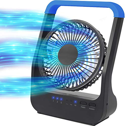 Battery Operated Fan, Camping Fan Battery Powered, Super Long Lasting, Portable D-Cell Battery Powered Desk Fan with Timer, 3 Speeds, Quiet, 180° Rotation, for Office,Bedroom,Outdoor, 5'', Blue