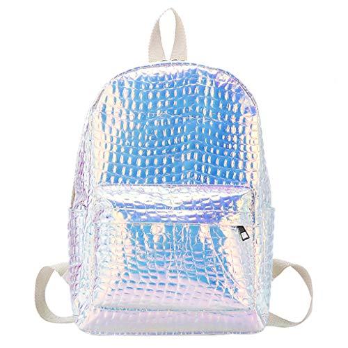 Ansenesna Rucksäcke Damen Groß Schule Elegant Wasserdicht Taschen Teenager Freizeit Glitzer Backpack Für Outdoor Reise (Silber)
