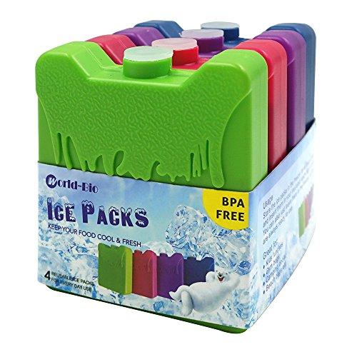 WORLD-BIO 4 Kühlakkus Kühlelemente für Brotdose Kühltasche Klein Kühlakkus Lang anhaltende Erkältung für Schule, Picknick, Camping, Angeln usw