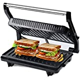 iBELL Hold The World Digitally! SM515 750 Watt Panini Grill Sandwich Maker with Floating Hinges,...
