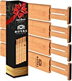ROYAL CRAFT WOOD Adjustable Bamboo Drawer Dividers Organizers - Expandable Drawer Organization Separators for Kitchen, Dresser, Bedroom, Bathroom and Office, 4-Pack (13.5-17 in, Natural)