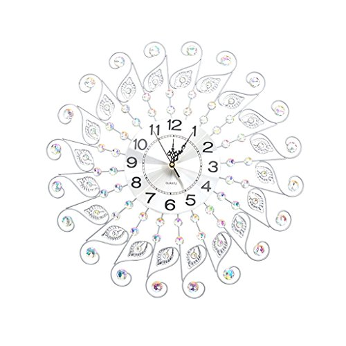 PIGE Européenne Luxe Diamant Horloge Murale en Fer forgé personnalité créatrice Ronde pointeur en métal Silencieux pour Salon Chambre à Coucher Quartz Horloge (Couleur : Silver, Taille : 60 * 60cm)