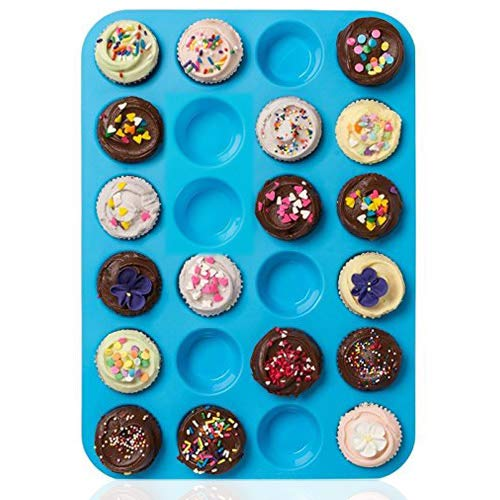 Amison Mini Muffin Pan 24 Cups, Silicone Cookies Cupcake Bakeware Tin Soap Tray Mould Non Stick, BPA-Free, Dishwasher Safe