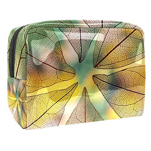 Bolso de Cosméticos Hojas de otoño Transparentes Neceser de Viaje para Mujer y Niñas Organizador de Bolso Cosmético Accesorios de Viaje Estuche de Maquillaje 18.5x7.5x13cm