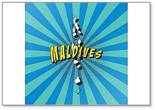 Kaart van de Malediven in Retro Pop Art Style Koelkast Magneet