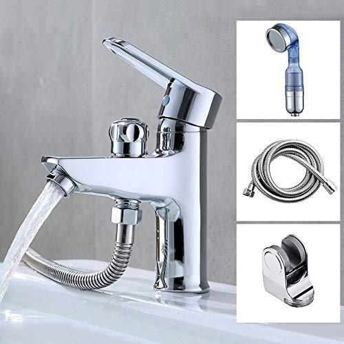 KIODS waterkraan badkamer bekken eenhands wastafelkraan koud warm water mengwaterventiel mondstuk met douchekop slang plafond monteren