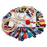 EXCEART Kit de Bordado Gama Completa de Kit de Inicio de Bordado Hilos de Colores Aros de Bordado Herramientas de Punto de Cruz para Adultos Niños Principiantes