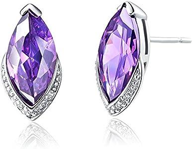 Onefeart Blanco Chapado en Oro Aretes Para Mujeres Chicas Púrpura Cristal Ojo de Caballo Aretes 9x17MM