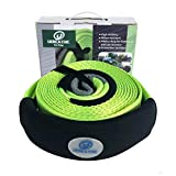 Ucreative Heavy Duty 3' x 20' Recovery Tow Strap 35,273LB with Protective Loops - Recover Vehicle Stuck in Mud Snow
