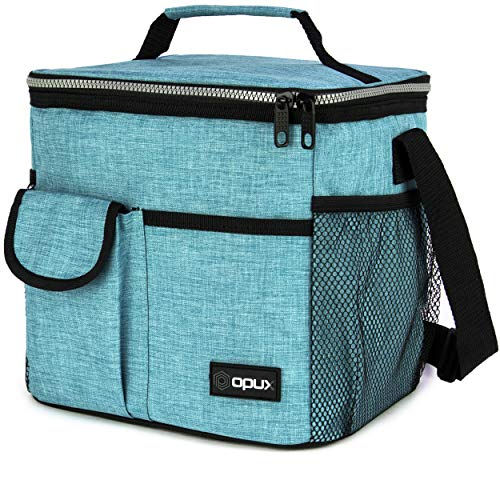 OPUX Lunch Bag Insulated Lunch Box for Women, Men, Kids | Large Leakproof Lunch Tote Bag for School, Work | Lunch Cooler with Shoulder Strap, Pocket | Fits 20 Cans (Tall Teal Blue)