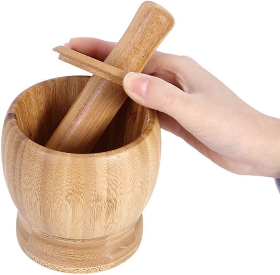YARNOW Juego de Mortero de Bamb/ú Y Mortero Cuenco de Cocina Especias Hierbas Pesto Molinillo con Tapa Tama/ño S
