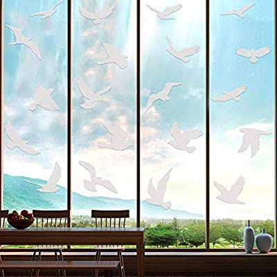20 Pieces Large Size Anti-Collision Window Clings Bird Window Stickers Prevent Bird Strikes on Doors Windows Glass Translucent/Dusted Window Decals Alert Bird Stickers