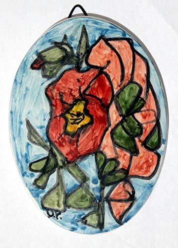 Lila Blüten-ovale Keramikfliese, handgefertigte Abmessungen cm 10,6 x 14,6 cm,Bereiten Sie vor, um an der Wand zu hängen Hergestellt in Italien in Toskana, Lucca Geschaffen durch Davide Pacini