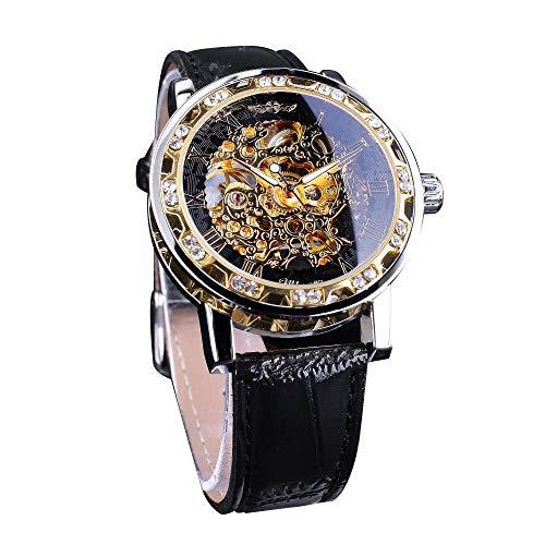 Winner Relojes mecánicos para hombre del esqueleto de la exhibición del diamante de las manos luminosas retro de oro