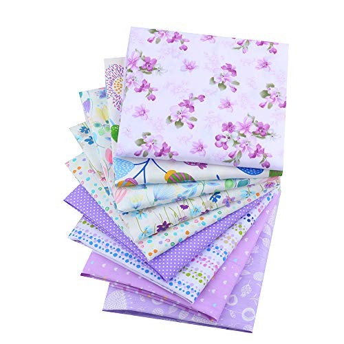 ShuanShuo New Purple Flower Series Cotton Fabric Quilting Patchwork Fabric Fat Quarter Bundles Fabric for Sewing DIY Crafts Handmade Bags Pillows 40X50cm 9pcs/lot