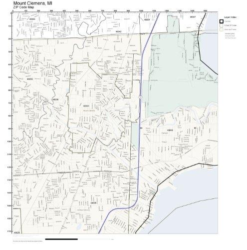 ZIP Code Wall Map of Mount Clemens, MI ZIP Code Map Laminated