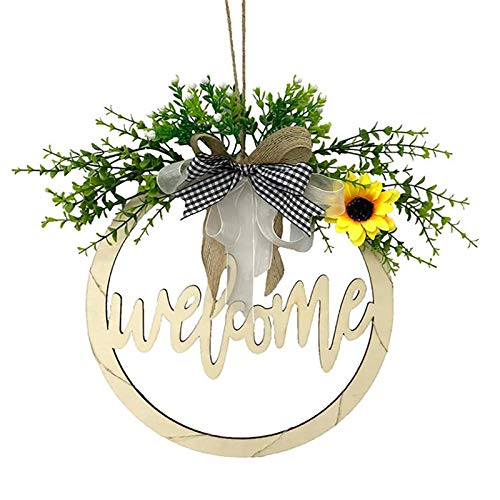 SMLJFO Señal de bienvenida para la puerta delantera, guirnalda de bienvenida decoración letrero redondo calado de madera decoración coronas con luz LED para el hogar colgante luz amarilla 30 cm