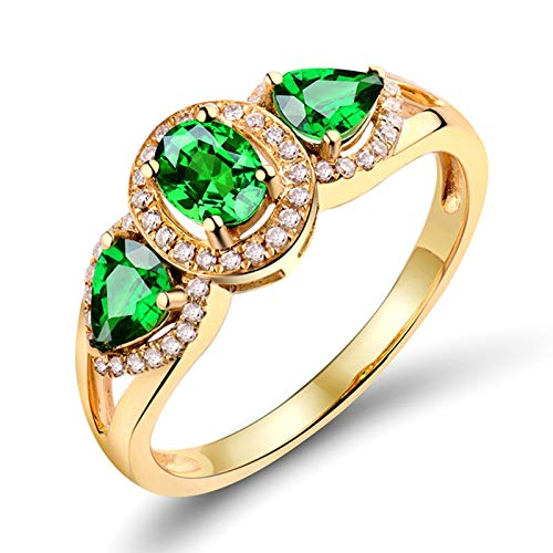 Adisaer Gold Rings Real Gold 18K,Ring for Girl Water Drop Leaf 18K Yellow Gold Women Ring Gold Engagement Ring 0.8CT Tsavorite and 0.15CT Diamond Size V 1/2