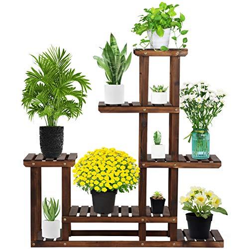Yaheetech Blumenleiter Pflanzentreppe Blumenregal Holz Regal Blumentreppe Gartenregal Leiterregal Pflanzenregal 97 x 96 x 25 cm