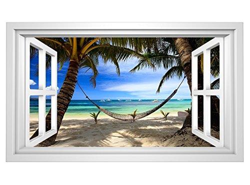 3D Wandmotiv Meer Strand Palmen Hängematte Fenster Wandbild selbstklebend Wandtattoo Wohnzimmer Wand Aufkleber 11E375, Wandbild Größe E:ca. 168cmx98cm