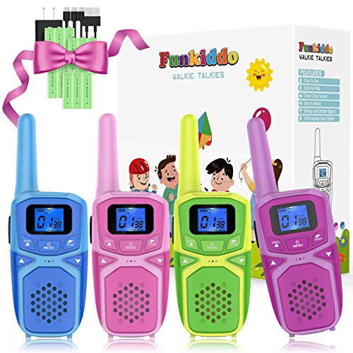 Kids Walkie Talkies, Rechargeable Long Range Portable Two Way Radio Walkie Talkie for Teens, Outdoor Camping Hiking Family Activities Toys Birthday Party Xmas Gifts for Girls Boys