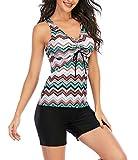 Yidarton Damen Tankini Badeanzug Zweiteiler Farbverlauf Gestreift Bikini Sets Swimsuit Gepolsterte Bademode Beachwear (7511-Farbe, X-Large)