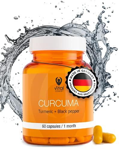 Vital Concept CURCUMA - Kurkuma und schwarzem Pfeffer   Curcumin und piperin. Anti entzündung kapseln, Natürliche Entgiftung und Antioxidative Wirkung, fördert Metabolismus. 60 Kapseln, 30 Tage