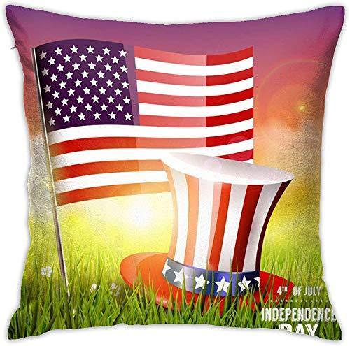 BONRI Funda de Almohada, Funda de Almohada con Bandera Estadounidense y Sombrero, Funda de Almohada Decorativa, cojín Cuadrado para sofá, Coche, 18x18